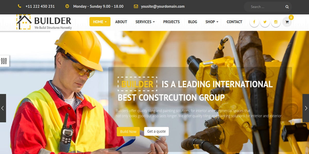 Construction Website Themes Templates Free Premium Templates - Website template builder