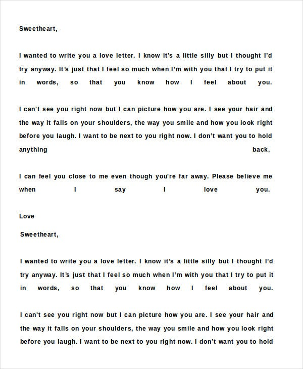 Romantic Love Letter   Free Word Documents Download  Free