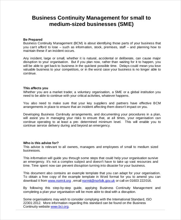 Business Continuity Plan 9 Free PDF Word Download Document – Sample Business Continuity Plan Small Business