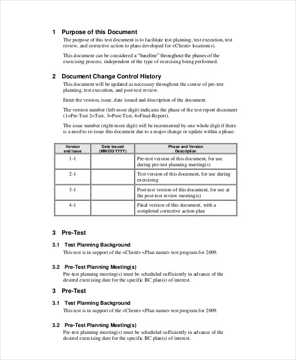 business continuity test plan template