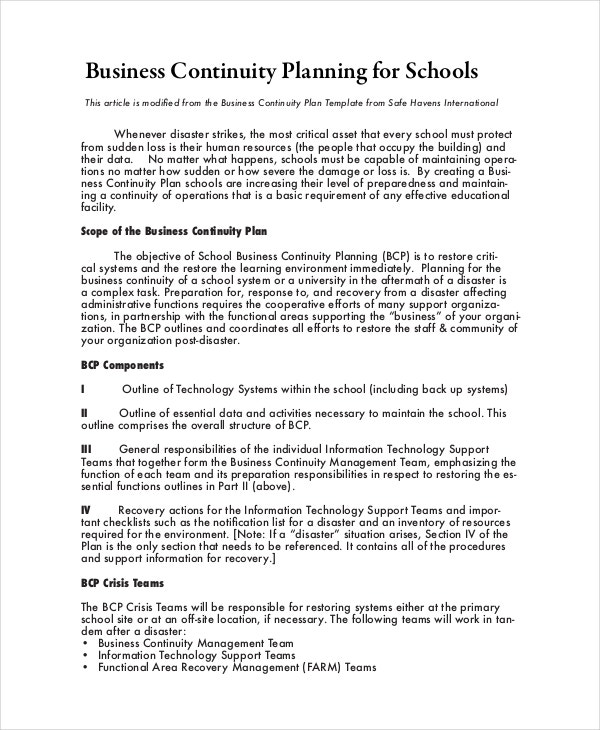 Business continuity plan 9 free pdf word download document business continuity plan template for schools cheaphphosting Gallery