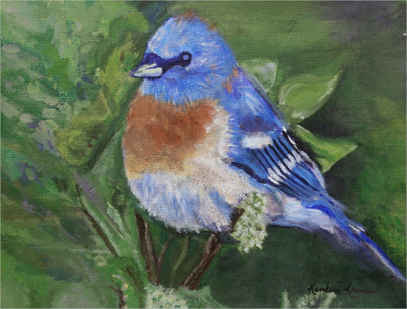 Blue Bird Artwork By Kandace Krause