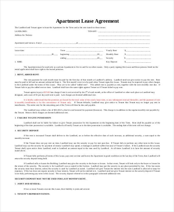 Corporate Apartment Lease Agreement