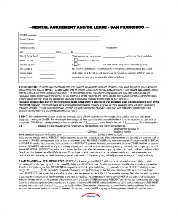 9+ Apartment Lease Agreement Templates