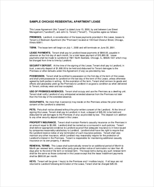 Apartment Lease Agreement   Free Pdf Word Download Documents