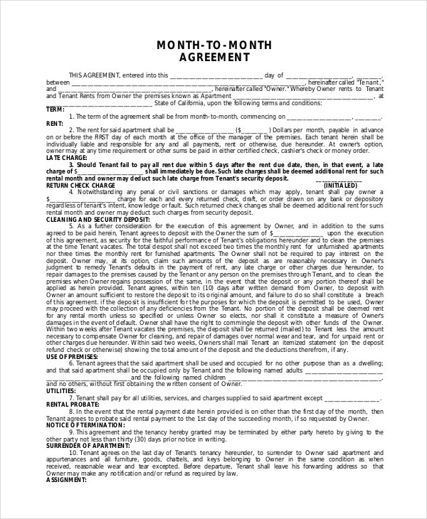 Apartment lease agreement 9 free pdf word download for 12 month tenancy agreement template