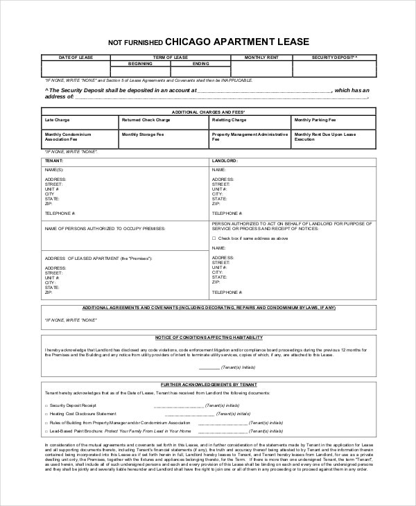 Unfurnished Apartment Lease Agreement