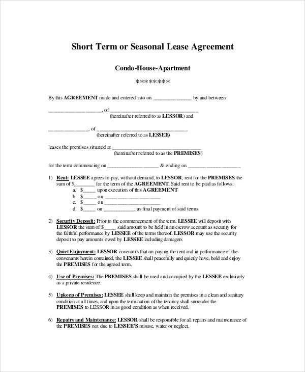 Apartment Lease Agreement 9 Free PDF Word Download Documents – Apartment Lease Agreement