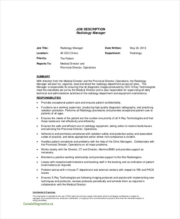 Radiology Manager Job Description