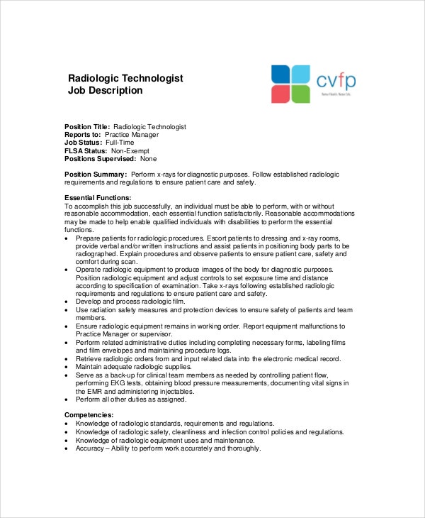 radiologic technologist job description template in pdf - X Ray Technologist Job Description