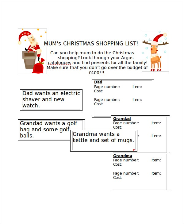Christmas Shopping List Template Printable  Free Christmas List Template