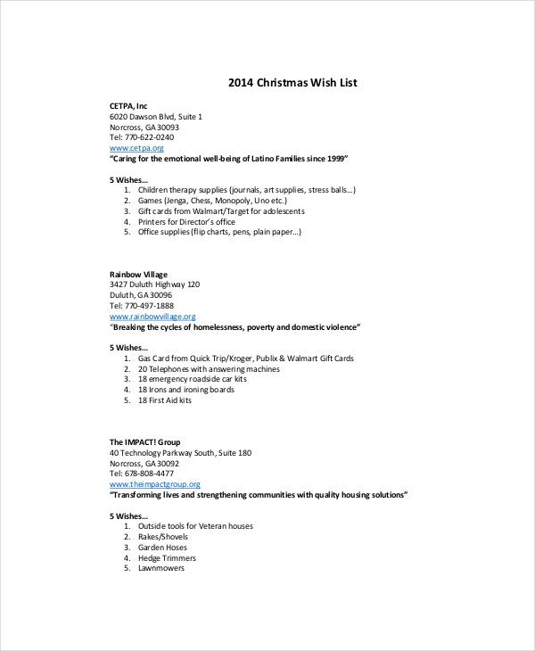Christmas Wish List Template For Adults  Christmas Wish List Templates