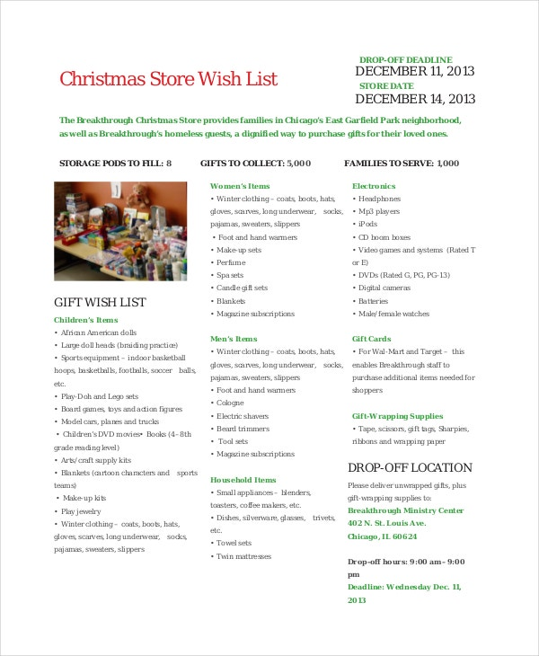 Christmas Store Wish List