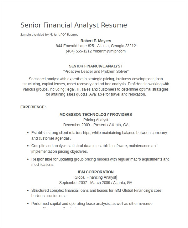 senior financial analyst resume sles amitdhull co