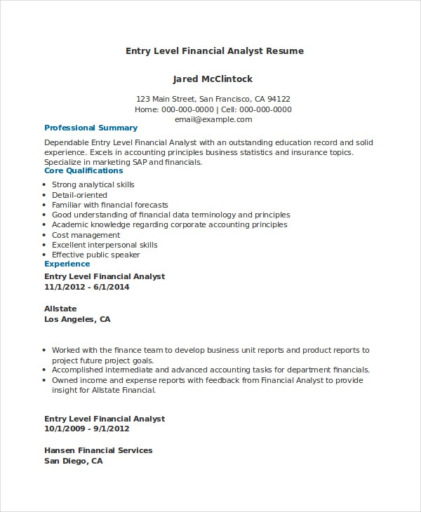 download entry level financial analyst resume - Junior Financial Analyst Resume