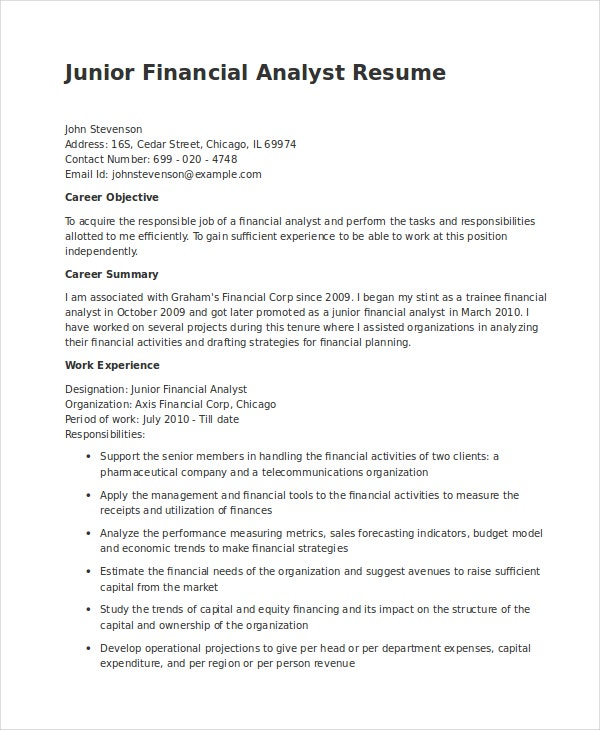junior financial analyst resume in word - Junior Financial Analyst Resume