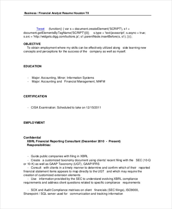 financial analyst resume 10 pdf word documents