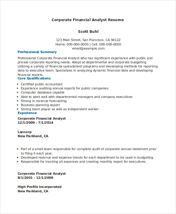 Corporate Financial Analyst Resume Sample  Sample Financial Analyst Resume