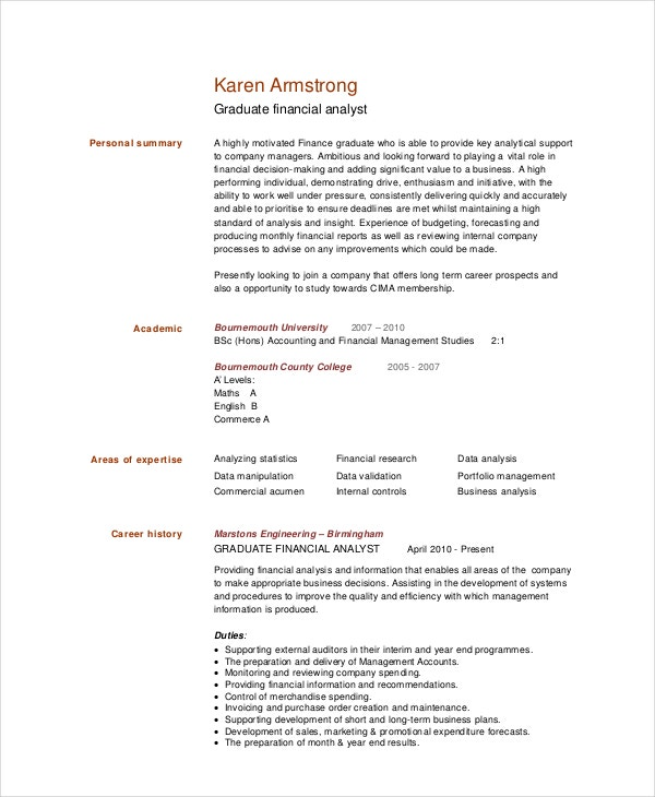 Graduate Financial Analyst Resume Template  Finance Analyst Resume
