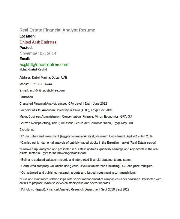 Real Estate Financial Analyst Resume