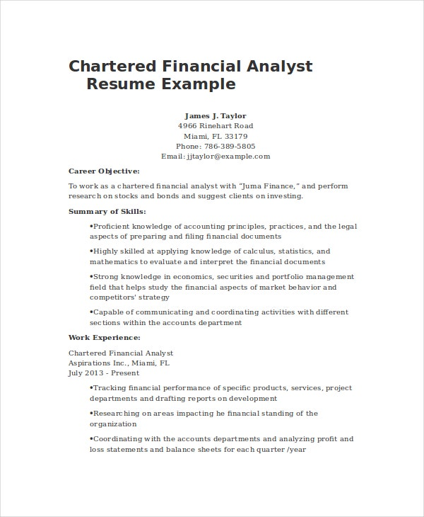 sample financial analyst resumes