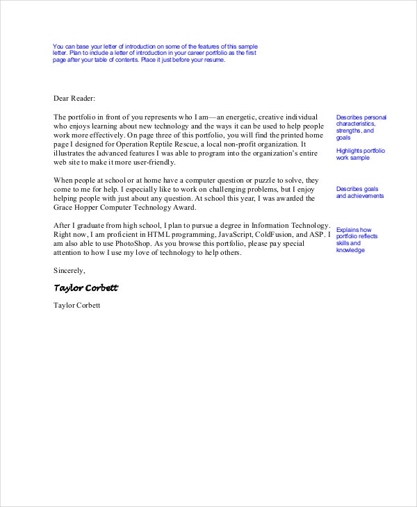 Letter of introduction example 13 free word pdf free portfolio letter of introduction sample altavistaventures Image collections