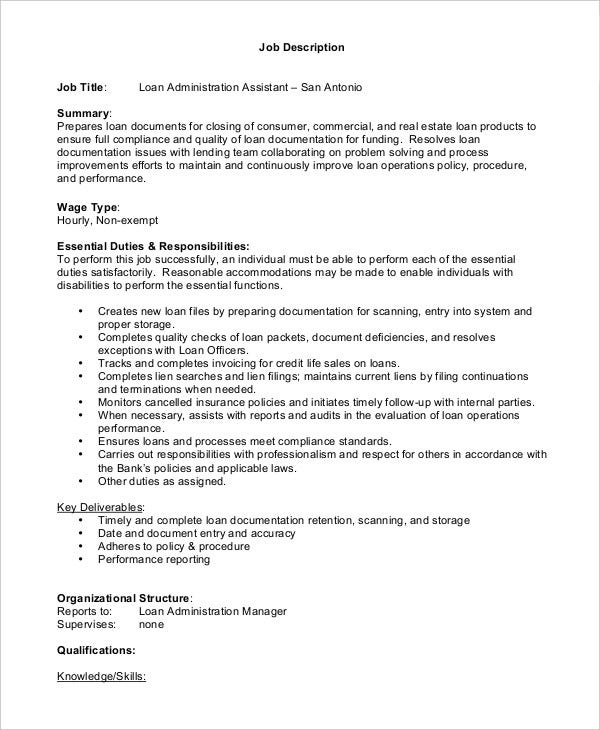 loan assistant administrator job description. Resume Example. Resume CV Cover Letter