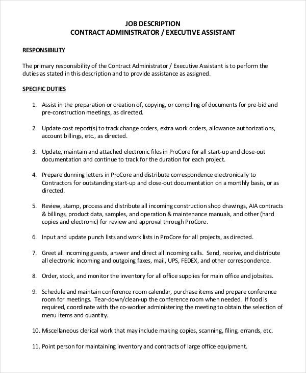 contract administrator job description template in pdf