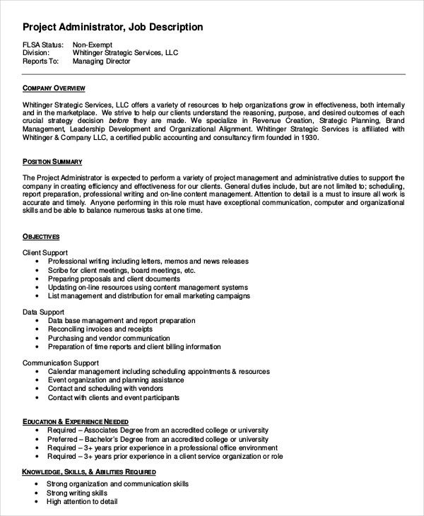 Administrator Job Description Example   Free Word Pdf