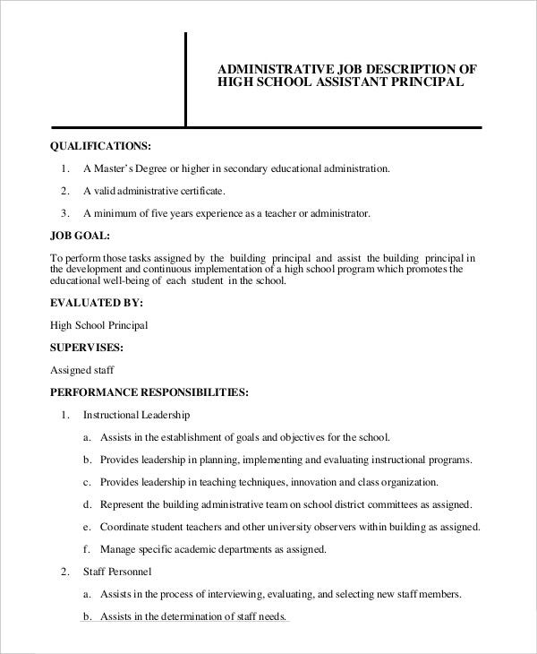 school administrator job description template in pdf