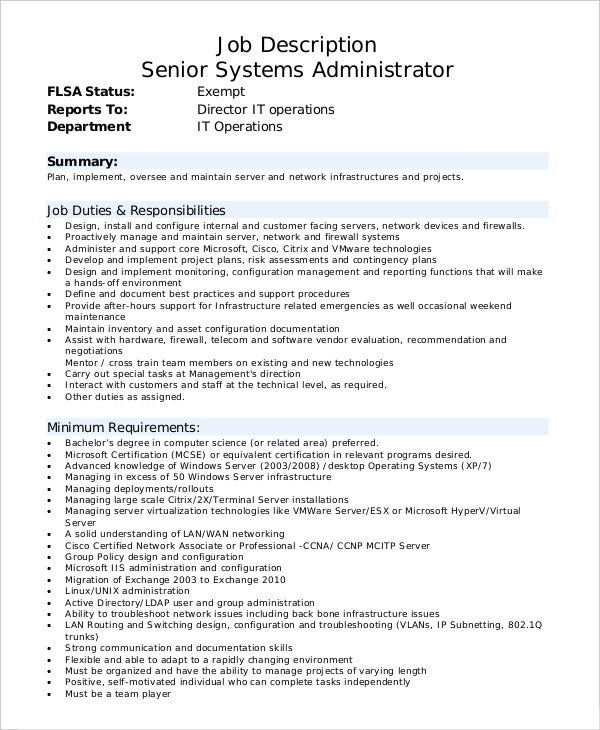 job description for senior systems administrator template download