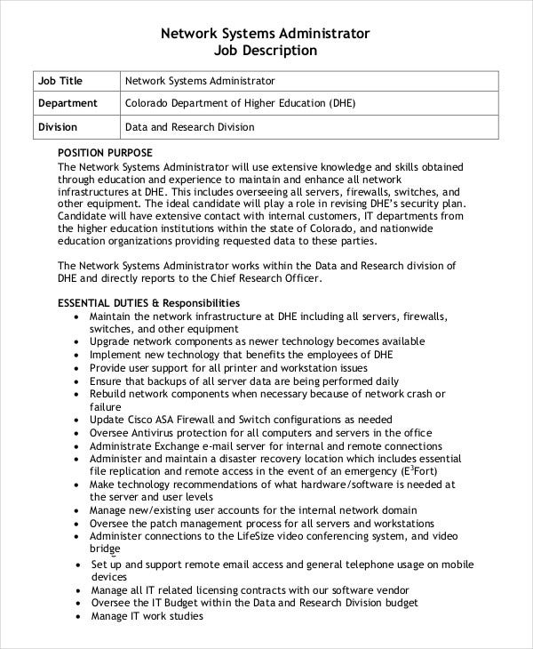 network systems administrator job description