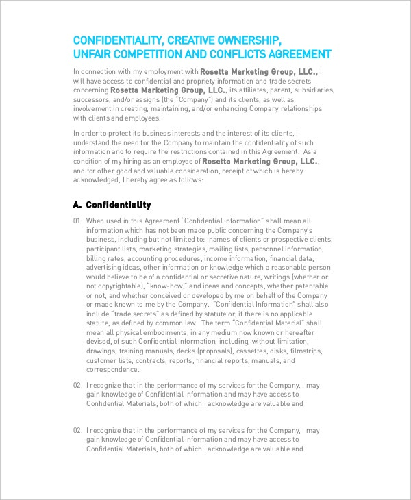 Legal Confidentiality Agreement Template