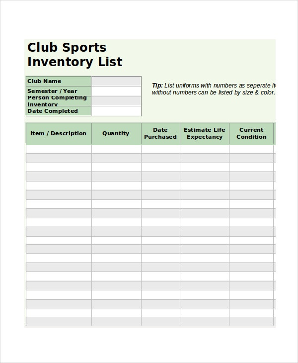 club sport inventory list spreadsheet template