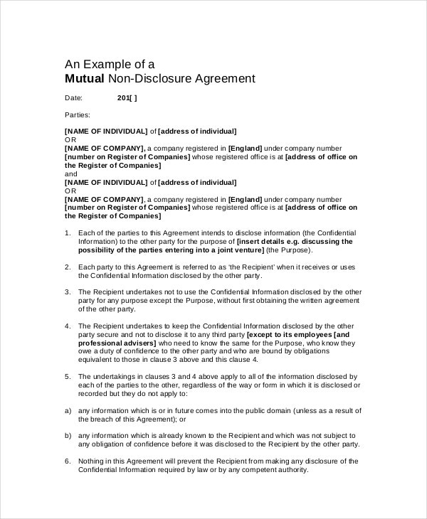 Non Disclosure Confidentiality Agreement Template