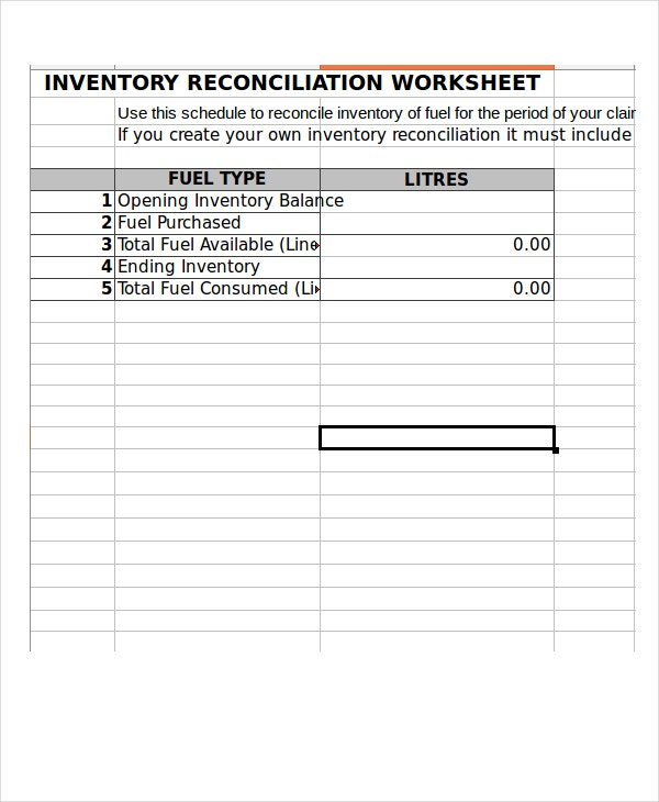 inventory reconciliation worksheet template