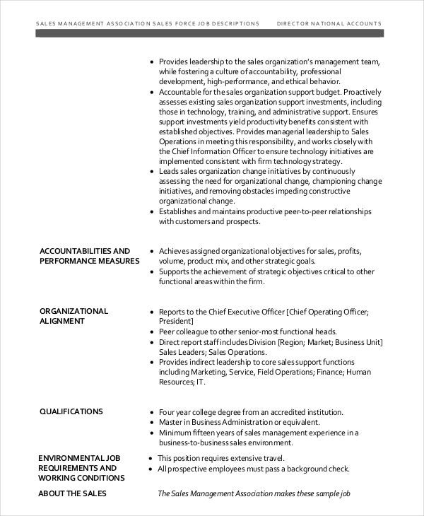 Sales Job Description Templates  Pdf Doc  Free  Premium