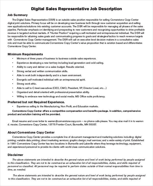 Sales Rep Job Description Resume Example Customer Service
