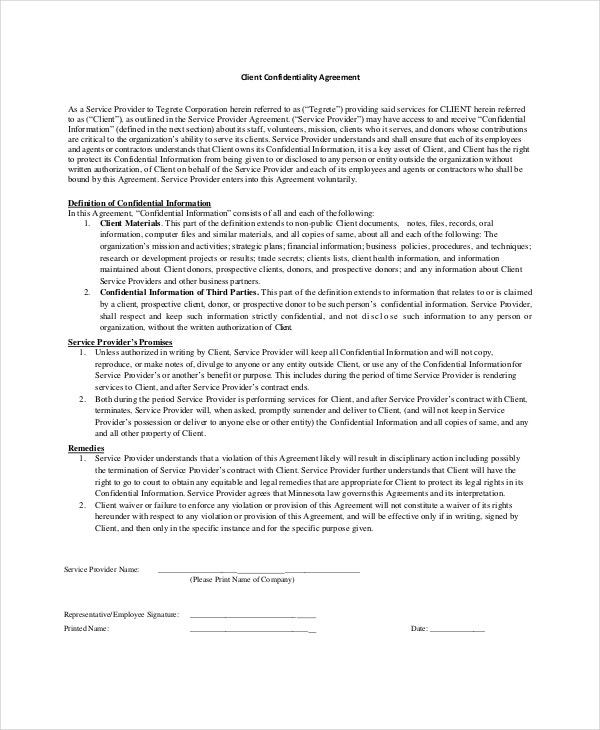 Client Confidentiality Agreement Template