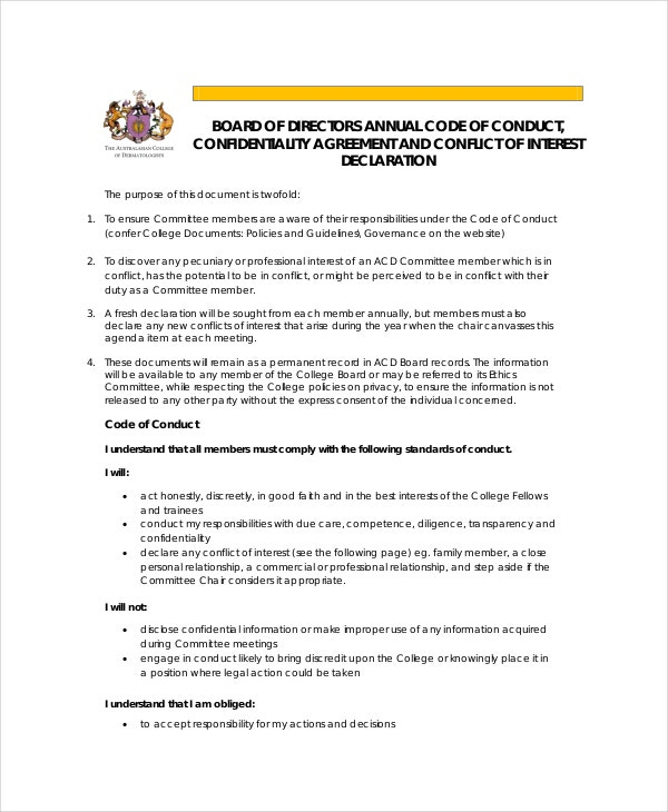 Confidentiality agreement template 12 free pdf word for Board member application template