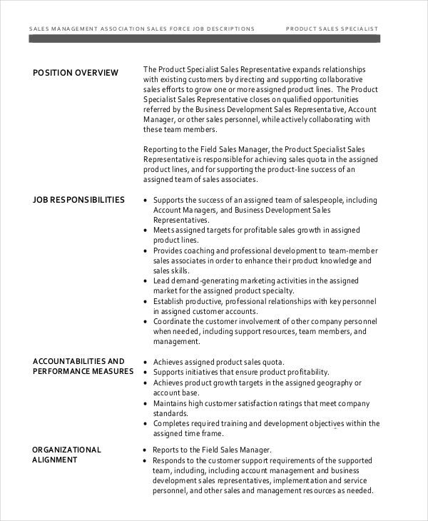 Product Sales Specialist Job Description
