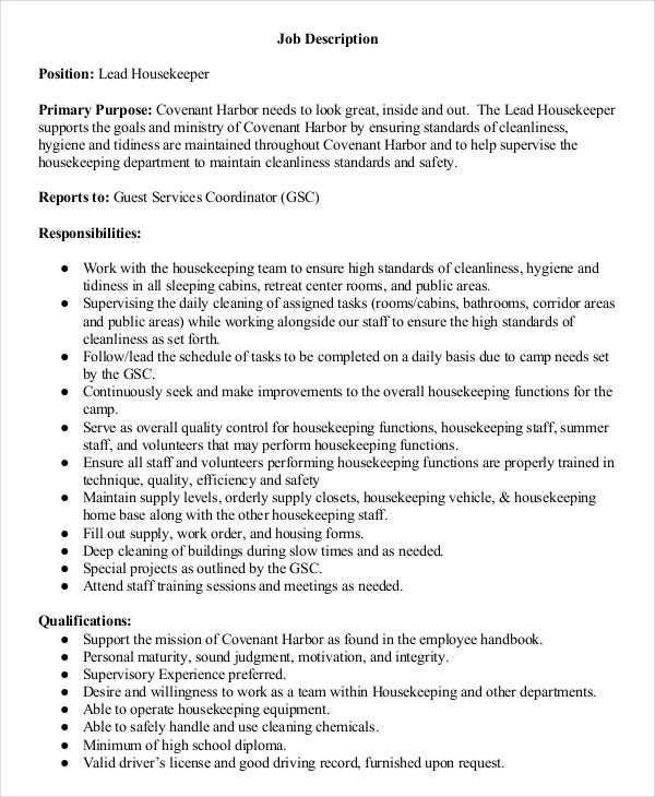 lead housekeeper job description. Resume Example. Resume CV Cover Letter