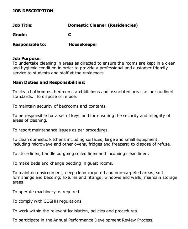 domestic housekeeper job description - Housekeeping Responsibilities