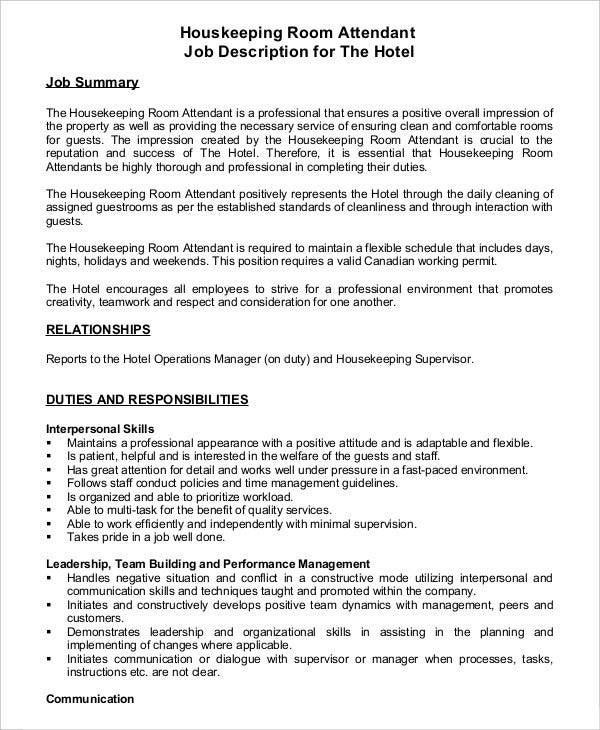 Job Description For Housekeeping Supervisor Seasonal Owh