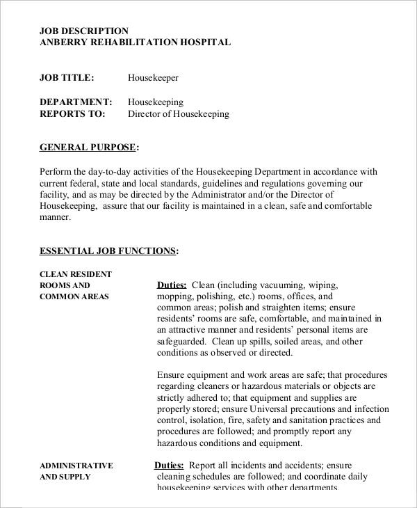 Housekeeper Job Description Example   Free Word Pdf Documents