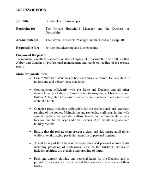 private head housekeeper job description