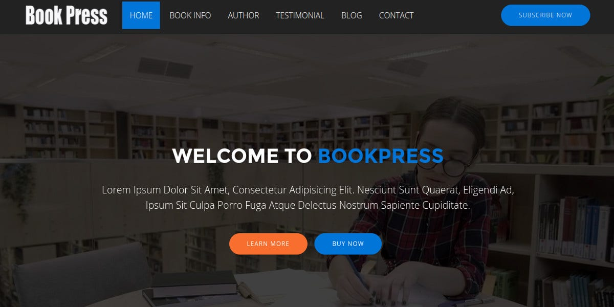 book selling landing page template 13