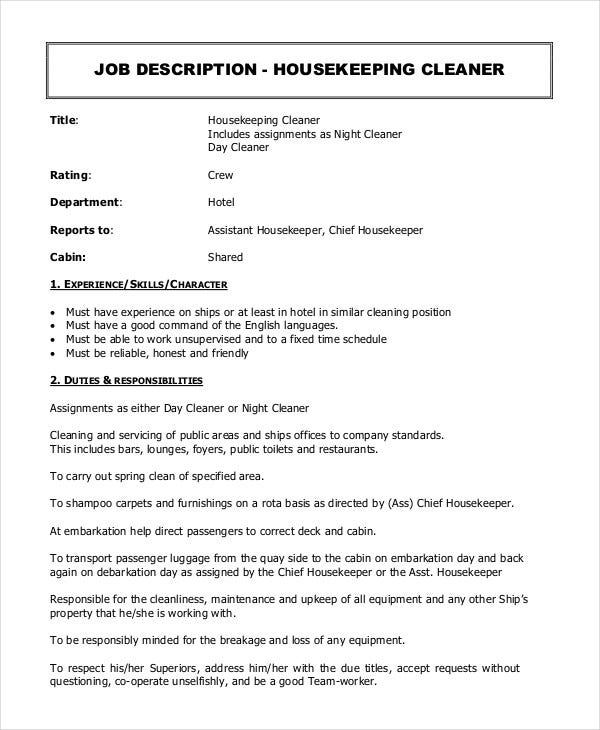 housekeeping cleaner job description - Housekeeping Responsibilities