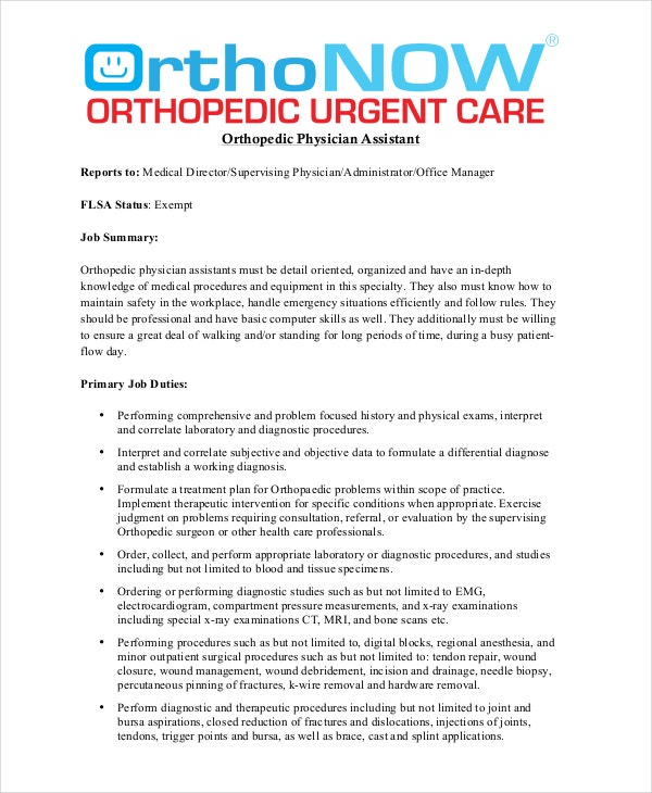 Orthopedic Physician Assistant Job Description