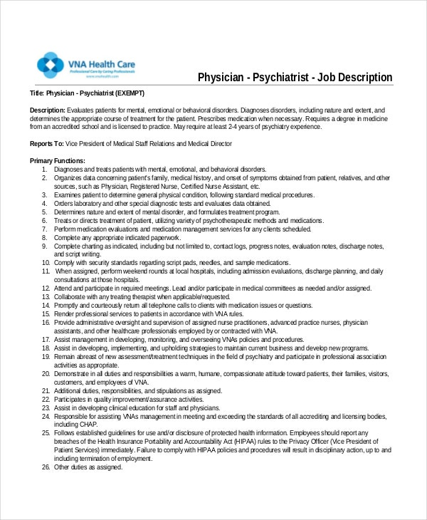 Physician Job Description  Free Sample Example Format  Free